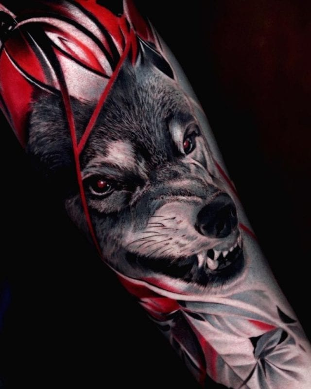 Tattoo alien wolf realismo