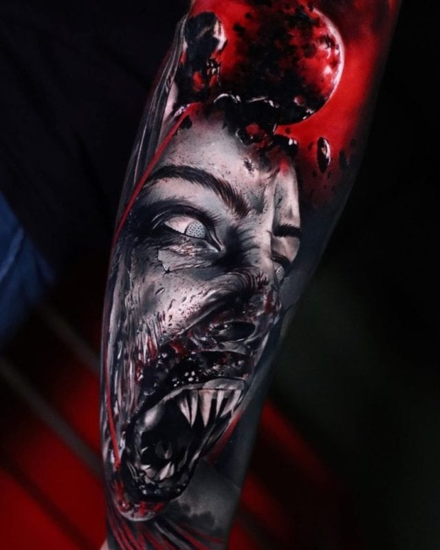 Tattoo alien zombi realismo