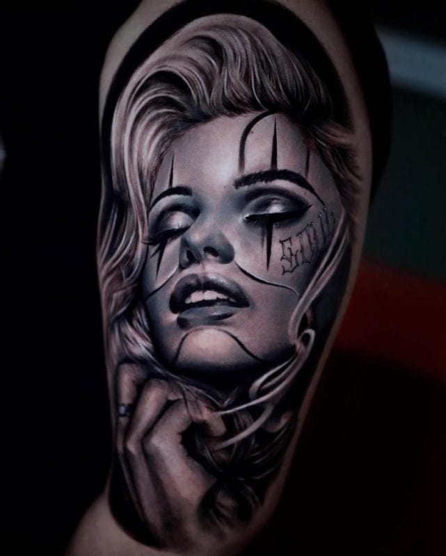 Tattoo Marilyn chicana style realismo