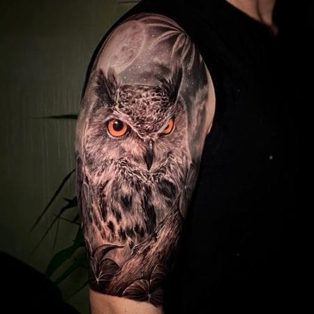 Tattoo búho realismo