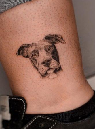 Tattoo perro micro realismo